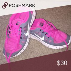 Nike free run Hot pink and gray Nike free runs Nike Shoes Sneakers