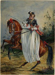 vfreie:  Woman in French Garde du Corps uniform, circa 1787, French school