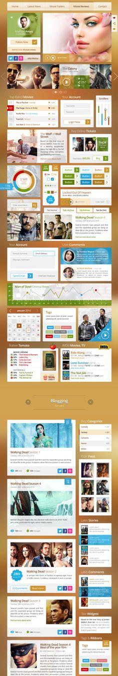 Red Carpet UI Kit #graphics Web Design Tips, Ux Design, Game Design, Design Elements, Ui Elements, Graphic Design, Interface Design, User Interface, Front End Design