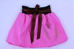 Pink embroidered bubble skirt for girls, elastic waist, summer skirt, baby skirt, toddler skirt, balloon skirt, mummy and me, party skirt by ElzahDesign on Etsy