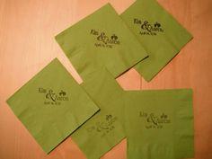 Emboss or stamp cocktail napkins? Easy DIY :  wedding black cocktail emboss green napkin reception stamp DSCF4949