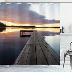 Rustic Pier Sunset Lake Shower Curtain – joocarhome Rustic Shower Curtains, Sunset Lake, Curtain Store, Square Tables, Table Covers, Vibrant Colors, Tablecloths, Landscape, Dining Room