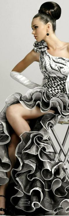 Black and white ruffled evening gown