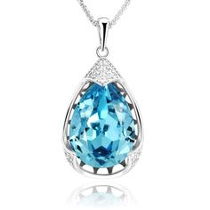 Sue's Secret 'Blue Danube' Trendy Raindrop Sky Blue Pendant Necklace Jewelry with Crystals from Swarovski >>> Want to know more, click on the image.