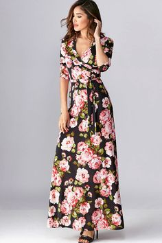 Vintage Rose Floral Wrap Maxi Dress - Black - ShopLuckyDuck