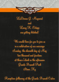 Harley Davidson themed wedding invitation in 5x7  If you wish to order this or any other invitation, please email me at aswiney01@yahoo.com or click on the image to visit my facebook page. Be sure to follow this board to see other designs.