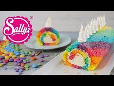 Einhorn Biskuitrolle / Regenbogenrolle / Rainbow Unicorn Swiss Roll - Sallys Blog