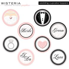printable cupcake toppers wedding | Wedding Cupcake Toppers DIY Printables by WisteriaDesignStudio