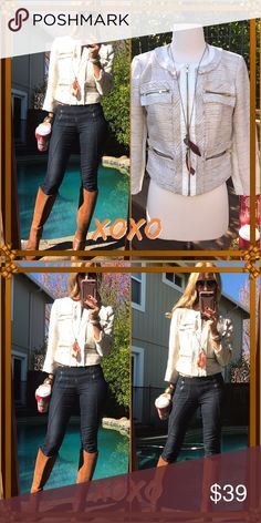 🌰XOXO🌰 Fall beauty this XO zip jacket, it's small on me definitely a small fit my bust was way to big. It's so fabulous with boots and some rocking fall jewels🌰. Mint condition! XOXO Jackets & Coats Blazers