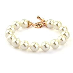 Bracelet - 18K Gold Plated, Simulated Pearls Gold Plated Bracelets, Beaded Bracelets, Pearl Bracelet, Pearl White, 18k Gold, Pearls, Chain, Stuff To Buy, Jewellery