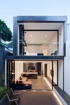 The term duplex comes from double or duplicate. This means that a duplex house is nothing more than a building style with two or more floors connected by Duplex House, Loft House, Loft Design, Modern House Design, Design City, Terrace Design, Future House, Design Exterior, Narrow House
