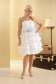 Plus Size Wedding dress, short length, reception dress with tiered organza and satin bow.