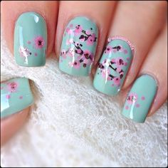 cherry blossom nail art manicure