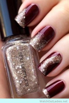 Wine and Burgundy nail polish with Shu Uemura gold glitter polish