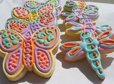 Butterfly and dragonfly cookies!
