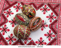 easter painted eggs on a beautiful romanian towel