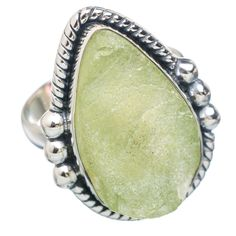 Rough Prehnite 925 Sterling Silver Ring Size 8.75 RING749722
