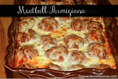Baked Meatball Parmesan Casserole Recipe Main Dishes with meatloaf, garlic, chopped parsley, bread crumbs, shredded parmesan cheese, eggs, salt, sauce, mozzarella cheese
