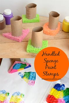Sponge Paint Stamps instead of a brush. A fun diy tutorial if you need an art or crafts idea.Handled Sponge Paint Stamps instead of a brush. A fun diy tutorial if you need an art or crafts idea. Kids Crafts, Baby Crafts, Toddler Crafts, Crafts To Do, Preschool Crafts, Diy Niños Manualidades, Home Decor Hooks, Paper Towel Crafts, Diy Tutorial