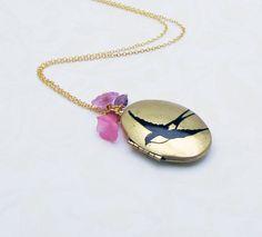 SPECIAL EDITION Bird in Flight Locket  - Screened locket necklace for girls, teens, women by reynared