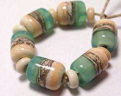 Caribe Organics - Mermaid Glass Handmade Lampwork Beads Sea Green and Ivory