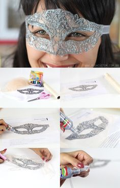 Aprenda a fazer uma máscara rendada com tinta relevo glitter