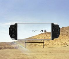 Sony uses the natural elements to show how clear one of their handheld psp's are. All the technology and graphic quality in a handheld concept.