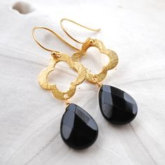 Vermeil Quatrefoil with Black Onyx Teardrop. Gold Clover Dangle Earrings. Vermeil Ear Wires. Bridesmaids Earrings.. $40.00, via Etsy.