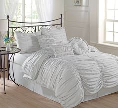 7pcs Chic Ruffle Ruched Duvet Cover Set w/Throw Pillows Queen Size, Silver Gray #ChezmoiCollection #Ruffled