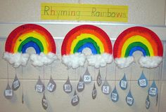Rhyming Rainbows - Paper plate rainbows, cotton ball clouds, and rhyming picture cutouts for raindrops (one picture per side)