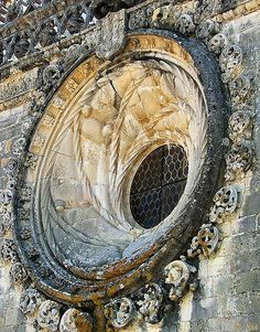 #Tomar Convent of the Knights of Christ ex #Templars - wonderful Manueline style architecture round window, Portuguese late #Gothic at its best.