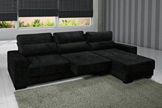 sofa reclinavel e retratil 3 lugares preto                                                                                                                                                     Mais