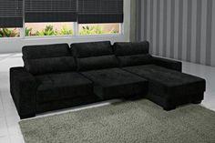 sofa reclinavel e retratil 3 lugares preto                                                                                                                                                     Mais