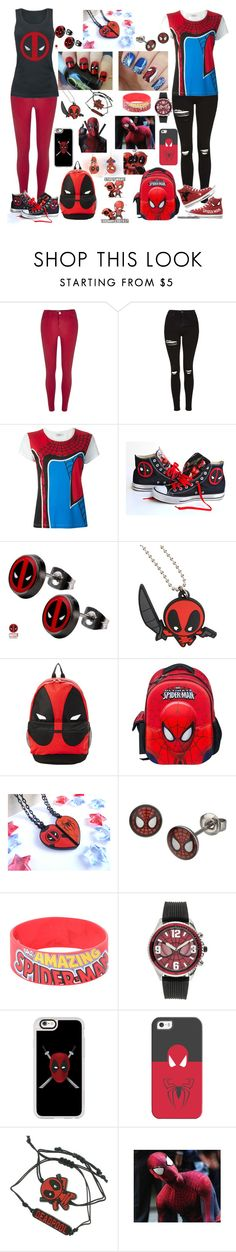 """""""Spideypool//Spiderman x Deadpool"""" by brendon-urie-enthusiast ❤ liked on Polyvore featuring River Island, Topshop, Valentino, Converse and Casetify"""