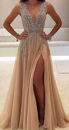 A-line V-neck Tulle Sexy Shinny Rhinestone Long Prom Dress With Slit OKA89 #champagne #beaded #split #vneck #aline #long #prom #okdresses