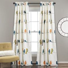 Shop for Lush Decor Rowley Birds Room Darkening Window Curtain Panel Set. Get free delivery at Overstock - Your Online Home Decor Outlet Store! Get in rewards with Club O! Bird Curtains, Rod Pocket Curtains, Colorful Curtains, Grommet Curtains, Blackout Curtains, Drapes Curtains, Curtains Living, Drapery, Eclectic Curtains
