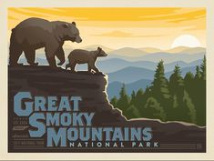 Great Smoky Mountains Horizontal Print - Decorate with a sense of adventure. This classic print celebrates Great Smoky Mountains National Park. Printed on gallery-grade paper, this rustic print will add a sense of wilderness and wonder to any wall. Landscape Illustration, Hand Illustration, American National Parks, National Park Posters, Smoky Mountain National Park, Vintage Travel Posters, Retro Posters, Great Smoky Mountains, Nursery