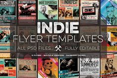12 Indie Flyers Bundle + FB Covers by Zeppelin Graphics on Creative Market