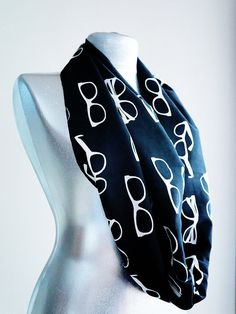Handmade Glasses Scarf - Infinity Scarf - Summer Scarf - Black White Cotton on Etsy, $15.00