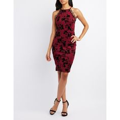 Charlotte Russe Lace-Trim Flocked Velvet Bodycon Dress ($30) ❤ liked on Polyvore featuring dresses, wine combo, zip back dress, keyhole bodycon dress, back zipper dress, wine bodycon dress and wine dress