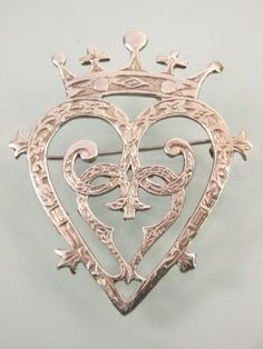VINTAGE SCOTTISH STERLING SILVER R A LUCKENBOOTH HEART LOVE WEDDING BROOCH PIN | eBay