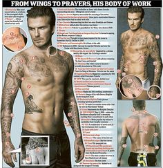 His body of work: The fashion icon and sporting hero had at last count 30 tattoos adorning his body