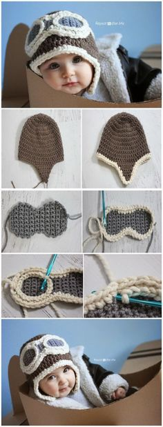 Crochet Aviator Hat with Free Pattern. This aviator hat is so adorable, it is a cute handmade gift for any little one you love. Crochet Aviator Hat with Free Pattern. This aviator hat is so adorable, it is a cute handmade gift for any little one you love. Easy Crochet Patterns, Baby Knitting Patterns, Free Crochet, Crochet Hats, Fun Patterns, Doily Patterns, Crochet Doilies, Crochet Baby Bonnet, Aviator Hat