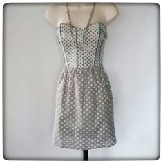 Grey and Jade Polka-dot Sundress Cute sundress, has stays in the bodice and invisible side zipper. The skirt is lined. Great condition. Lush Dresses Mini