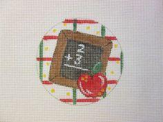 Handpainted Mono Needlepoint Canvas Christmas Ornament  Teacher Apple Chalkboard