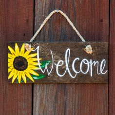 Sunflower welcome sign on wood, Summer door hanger on rope : Welcome sign Summer door hanger Rustic welcome by SimplyPallets Wooden Welcome Signs, Diy Wood Signs, Wood Crafts, Diy And Crafts, Wood Board Crafts, Wine Gift Baskets, Basket Gift, Pallet Art, Painting On Wood