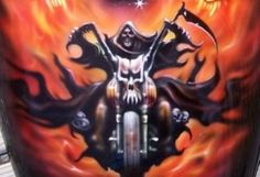 Airbrushed Real Fire, airbrush tru fire