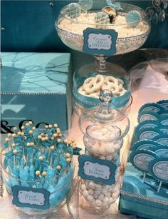 Cute rock candy! Blue and white theme