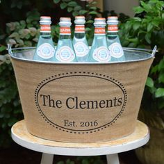Personalised Metal and Burlap Drinks Ice Bucket Tub