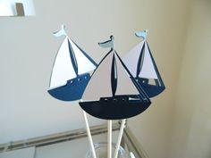 3 Light Blue Sailboat Centerpiece Sticks Nautical by 2muchpaper